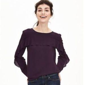purple banana republic ruffle front blouse size L